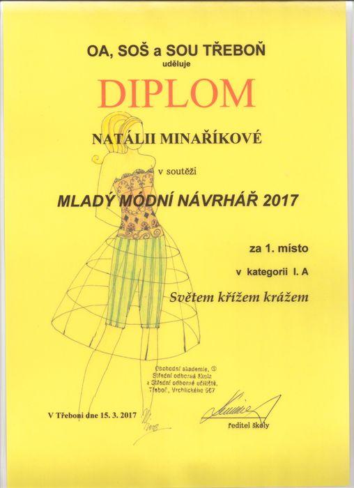 Diplom Natálie Minaříková
