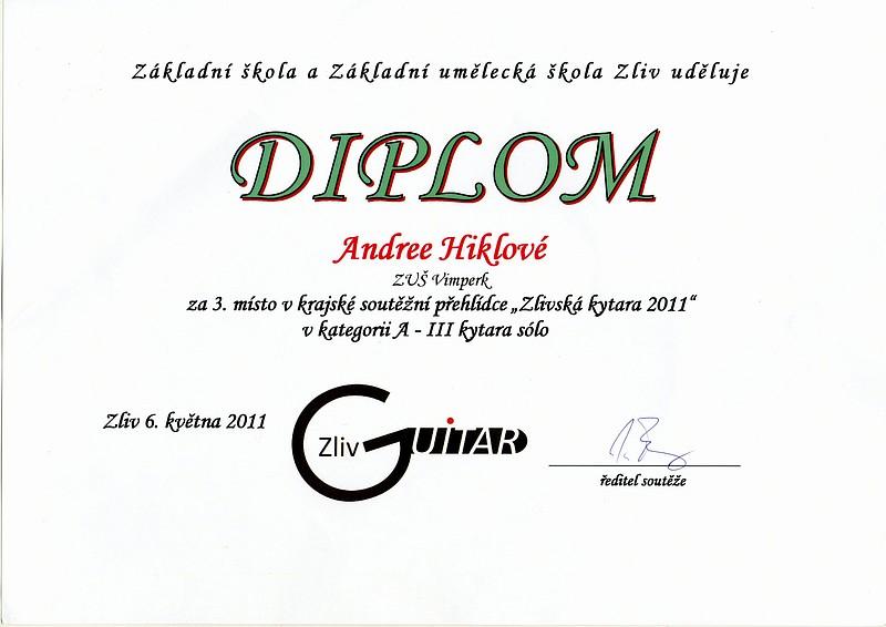 Andrea Hiklová - 3. místo