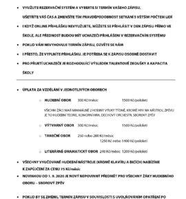 Praktické informace k zápisu do ZUŠ Vimperk
